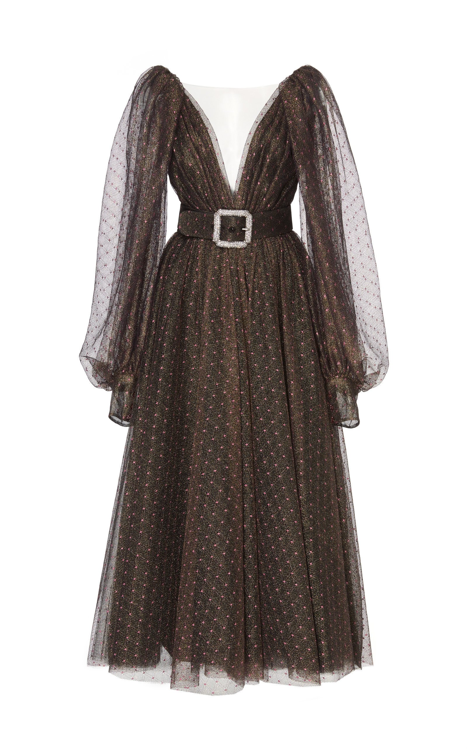 Monique Lhuillier Belted Polka-Dot Lurex Dress