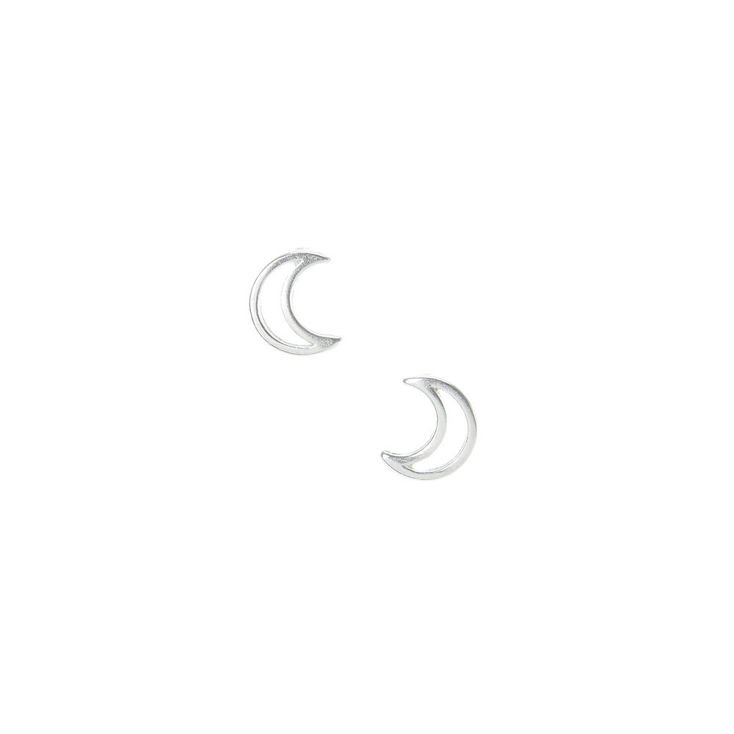 Sterling Silver Crescent Moon Stud Earrings | Claire's US