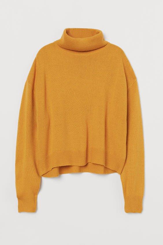 Knit Turtleneck Sweater - Yellow melange - Ladies | H&M US