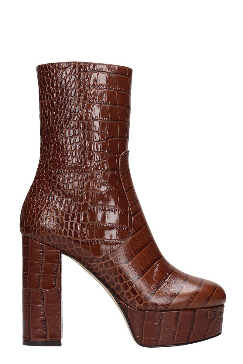 Paris Texas High Heels Ankle Boots In Brown Leather