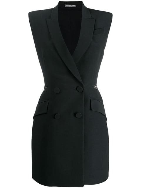 Alexander McQueen Double-breasted Slash Mini Dress - Farfetch