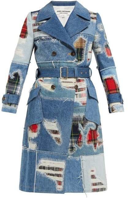 Patchwork Denim Trench Coat - Womens - Blue Multi