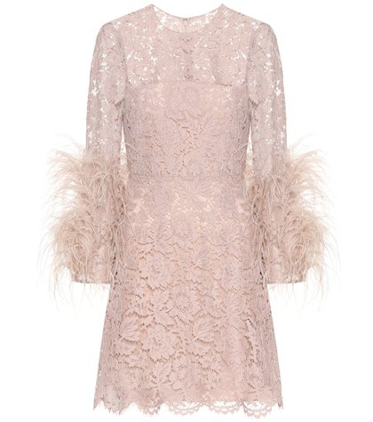 Feather-trimmed lace minidress