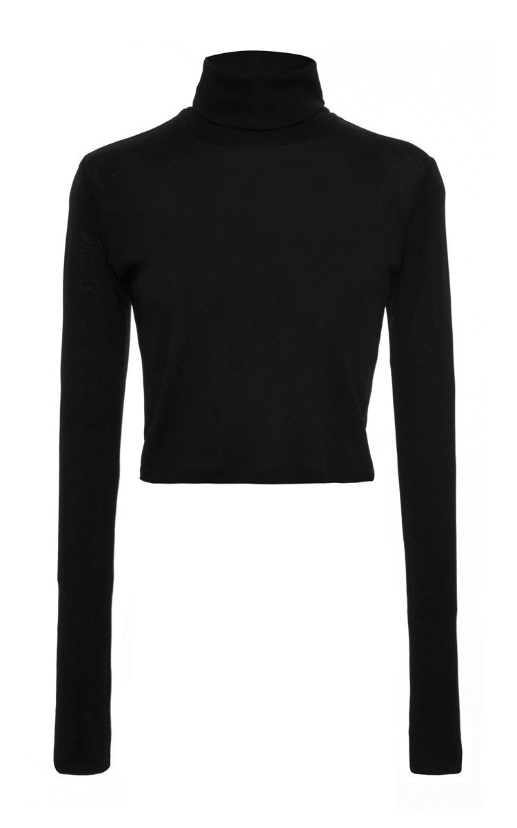 Black Turtleneck Crop Top