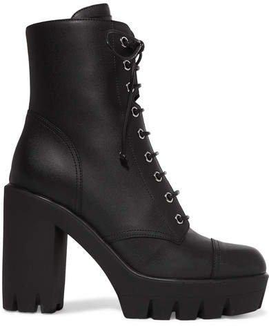 Leather Platform Ankle Boots - Black