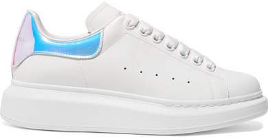Iridescent-trimmed Leather Exaggerated-sole Sneakers - White