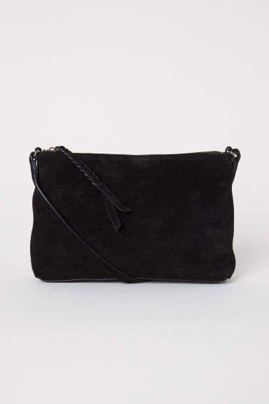 Suede Shoulder Bag - Black