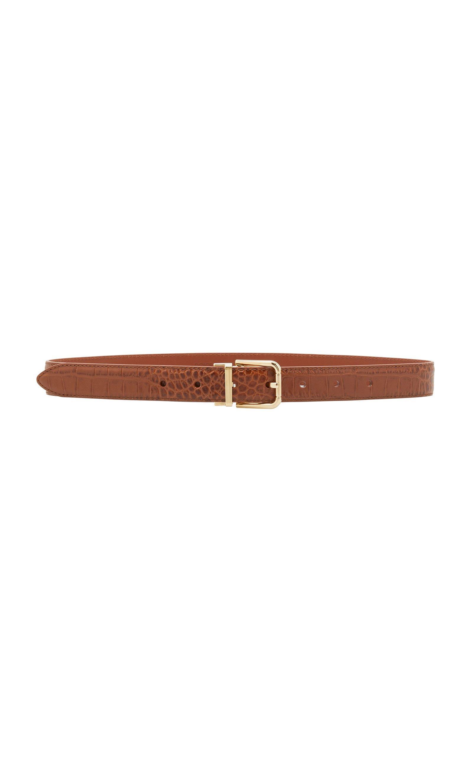 Dolce & Gabbana Croc-Effect Leather Belt Size: 70 cm