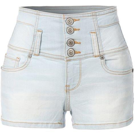 LE3NO light wash high waisted denim shorts