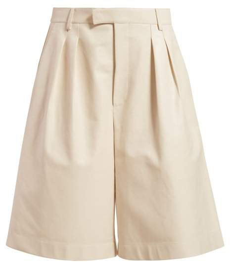 Mid Rise Leather Bermuda Shorts - Womens - Ivory