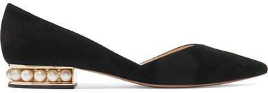 Casati Embellished Suede Point-toe Flats - Black