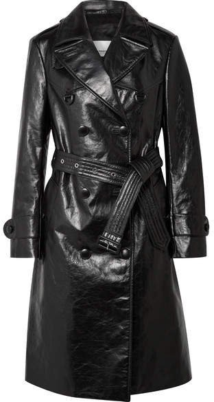 Double-breasted Leather Trench Coat - Black