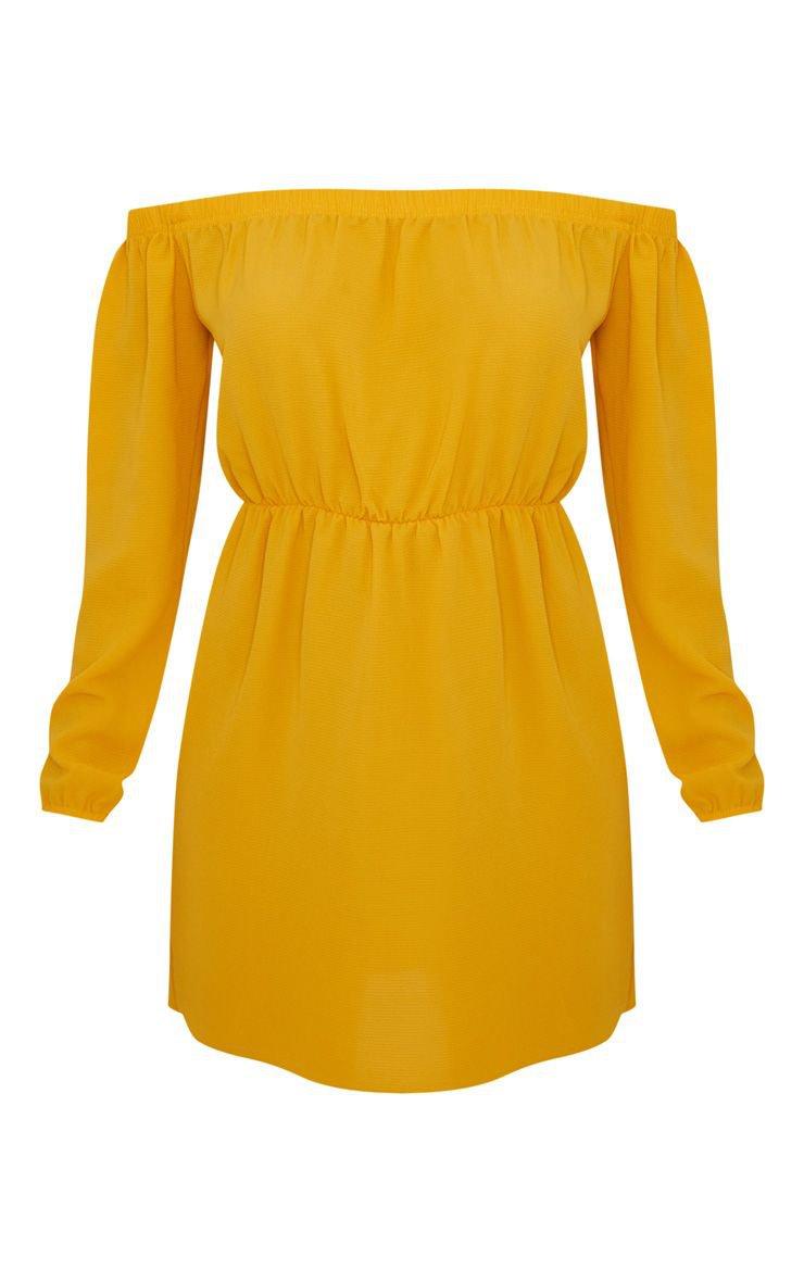 Mustard Bardot Puff Sleeve Skater Dress | PrettyLittleThing USA