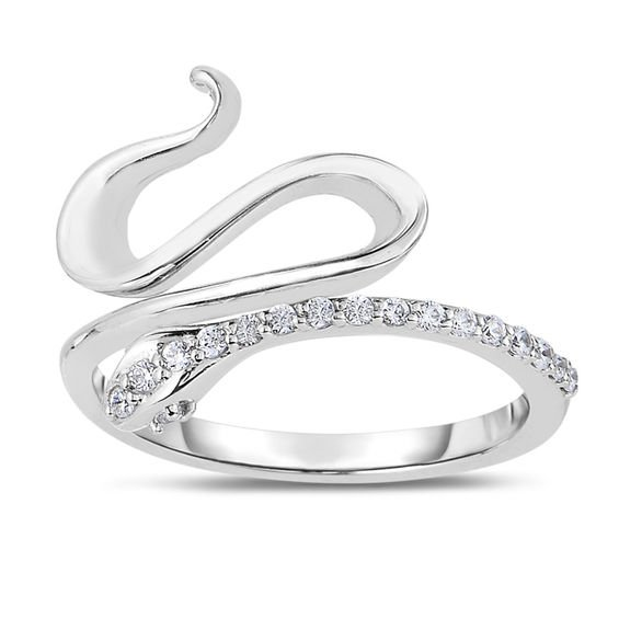 1/5 CT. T.W. Diamond Snake Ring in Sterling Silver | Online Exclusives | Collections | Zales