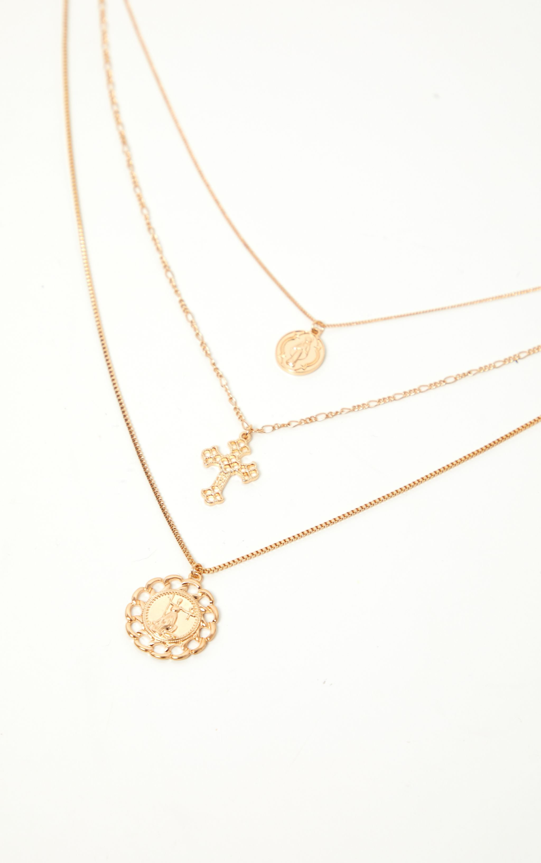 Gold Coin Cross And Chain Disc Multi-Layer Necklace   PrettyLittleThing USA