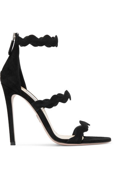Prada | Scalloped suede sandals | NET-A-PORTER.COM