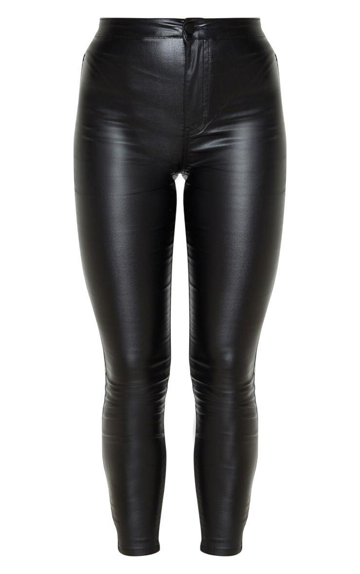 Coated Black Skinny Jeans | Denim | PrettyLittleThing
