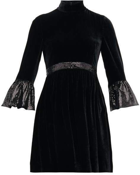 Sequinned Cuff Velvet Mini Dress - Womens - Black