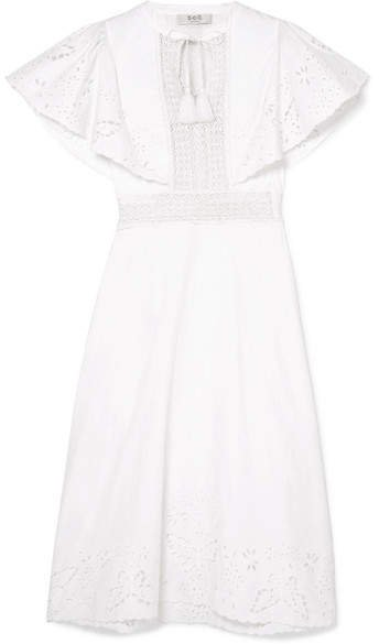 Lace-trimmed Broderie Anglaise Cotton Midi Dress - White