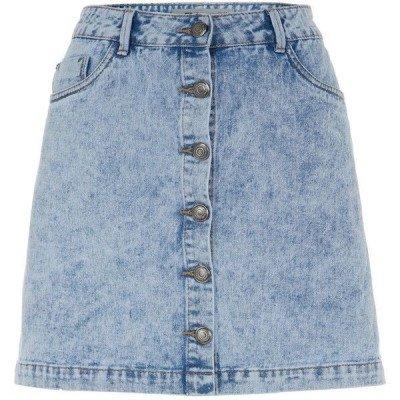 Blue Acid Wash Button Front A-Line Denim Skirt