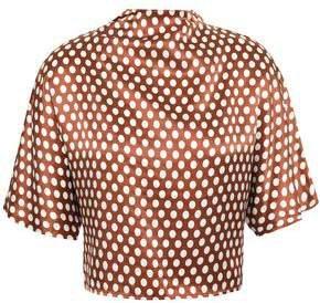 Cropped Bow-detailed Polka-dot Silk-satin Blouse