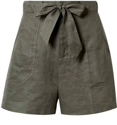 Taimee Belted Linen Shorts - Army green