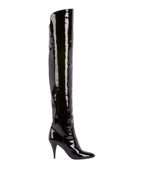 Saint Laurent Kiki Patent Over-The-Knee Boots
