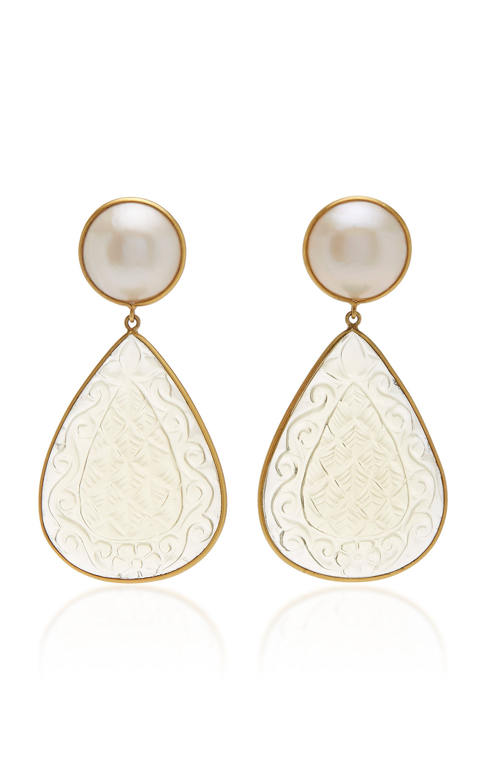Bahina One of a Kind Mabe Pearl and Quartz Earrings