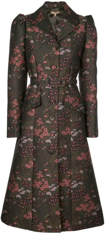 Floral brocade single-breasted coat