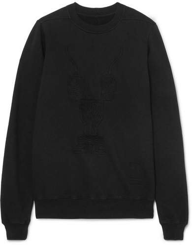 Embroidered Cotton-jersey Sweatshirt - Black