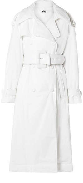 Oversized Padded Cotton Trench Coat - White