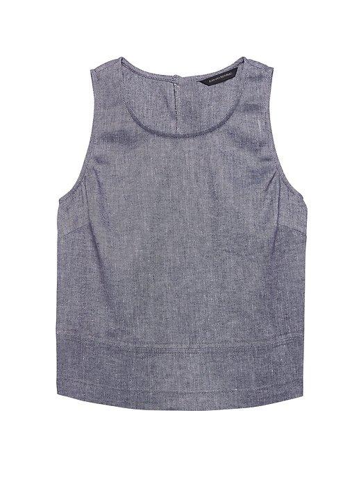 Linen-Cotton Button-Back Tank | Banana Republic Navy Blue