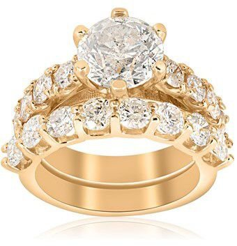 Diamond Engagement Matching Wedding Ring 14k Yellow Gold