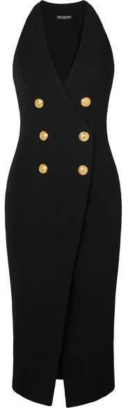 Button-embellished Stretch-knit Midi Dress - Black