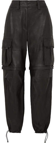 Convertible Leather Cargo Pants - Black
