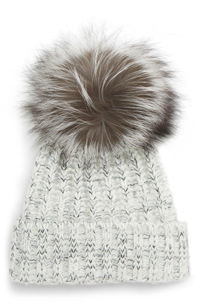 Kyi Kyi Cable Knit Beanie with Genuine Fox Fur Pom | Nordstrom