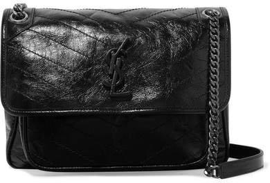 Niki Medium Quilted Crinkled Patent-leather Shoulder Bag - Black
