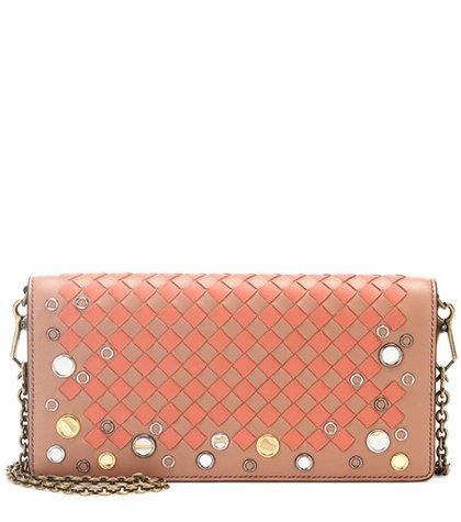 Intrecciato leather wallet shoulder bag
