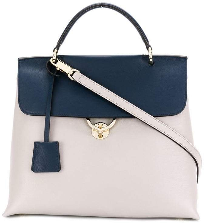 contrast flap tote