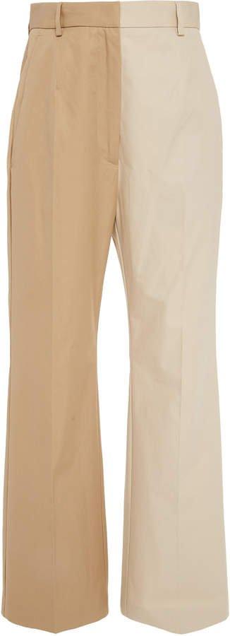Two-Tone Cotton Straight-Leg Trousers