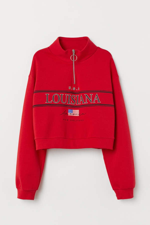 Stand-up Collar Sweatshirt - Red