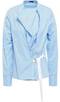 Arran Striped Cotton-poplin Wrap Top