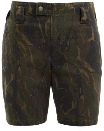 Camouflage Print Cotton Blend Longline Shorts - Womens - Green Print