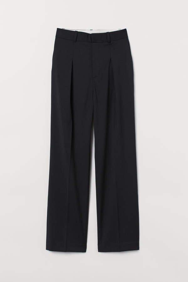 High-waist Wool-blend Pants - Black