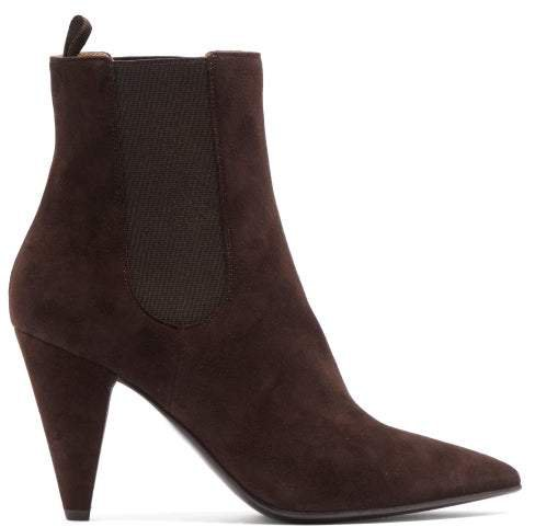 Cone Heel Suede Ankle Boots - Womens - Dark Brown