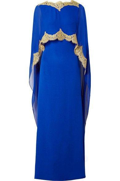 Reem Acra | Cape-effect embellished lace-trimmed silk-chiffon gown | NET-A-PORTER.COM