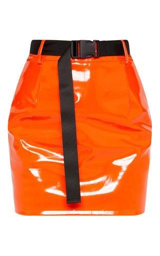 Orange Vinyl Zip Front Belted Mini Skirt | PrettyLittleThing