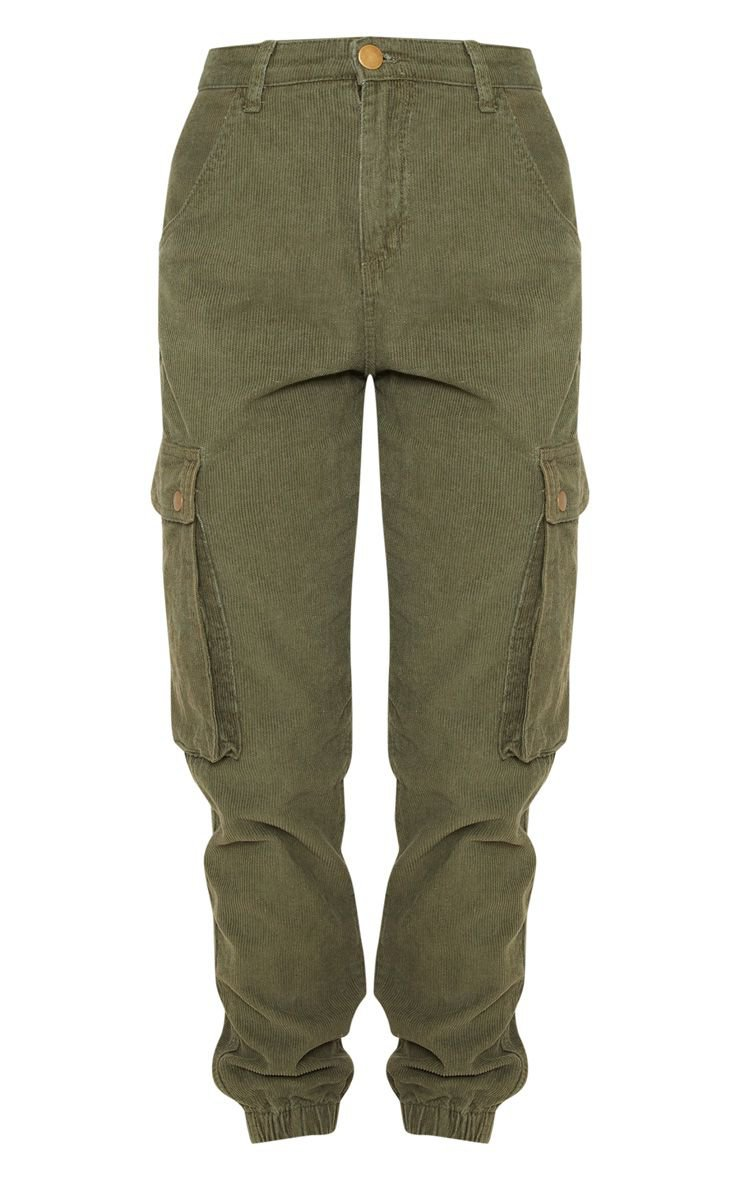 Khaki Cord Cargo Trouser | PrettyLittleThing USA