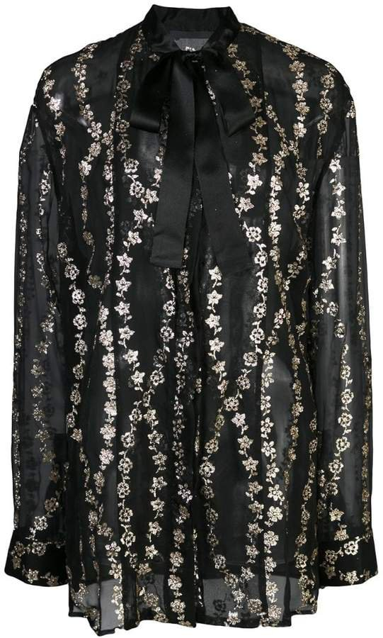 floral embroidery sheer blouse