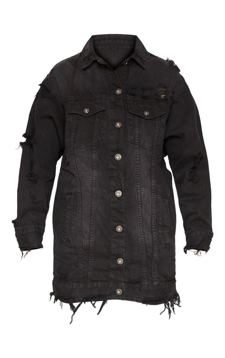 Mid Wash Longline Distressed Denim Jacket | PrettyLittleThing